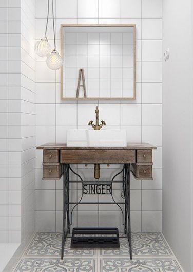 idée déco, salle de bain rétro, meuble chiné, home staging, lebonjo.com, coup de main entre particuliers, job, jobbing, diy, machine à coudre, lavabo